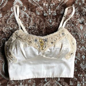 FREE PEOPLE Cream Beaded Bustier